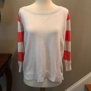 POOF Orange and White Striped Hi Low Sweater